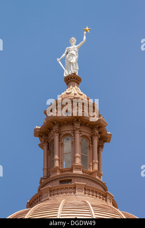 Goddess of Liberty statue Texas State Capitol building Austin USA - Stock Image