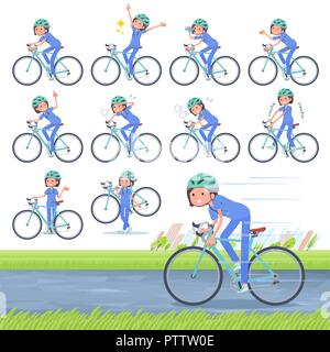 A set of Surgical Doctor women on a road bike.There is an action that is enjoying.It's vector art so it's easy to edit. - Stock Image