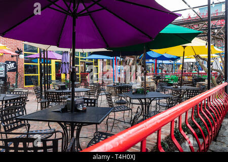 ASHEVILLE, NC, USA-4/11/19:  The Mellow Mushroom restaurant, on Broadway Avenue, in downtown. - Stock Image