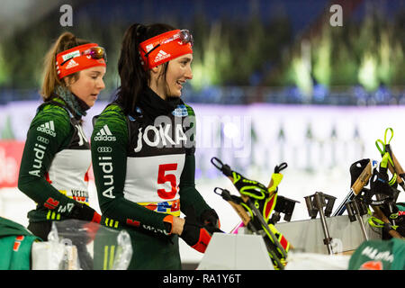 L-R: Sophia Schneider, Juliane Frühwirth. The German Team Challenge takes place during the JOKA Biathlon WTC auf Schalke featuring young German biathlethes. - Stock Image
