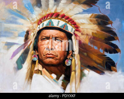 Painting of a Native American Indian Chief in full headdress - Stock Image