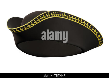 Tricorne Cocked Hat of Classic Style. Perspective view. 3D render Illustration isolated on a white background. - Stock Image