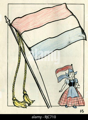 Colouring page, For Victory Paint Book, with a Dutch flag and a little girl in national costume. - Stock Image