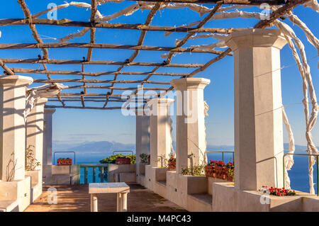 The panoramic terrace at Villa Rufolo, Ravello - Stock Image