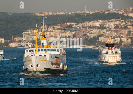 Passenger ferries on the Bosphorus in Istanbul, Turkey - Stock Image
