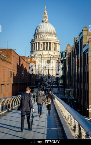 St Paul's Cathedral from Millennium Bridge. London, UK - Stock Image