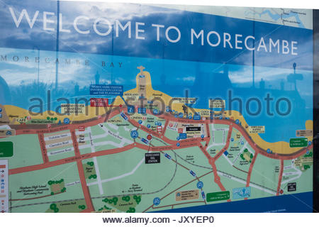 Welcome to Morecambe map on the promenade at Morecambe, Lancashire, England, UK - Stock Image