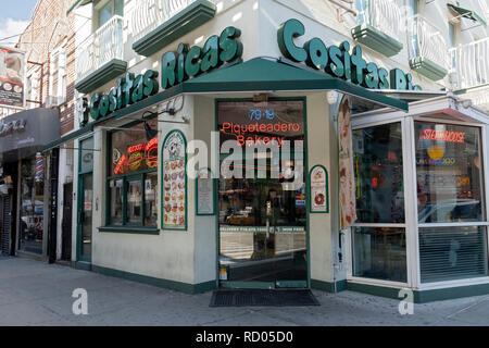 The exterior of COSTAS RICAS, a Columbian steak house restaurant and bakery on Roosevelt Avenue in Jackson Heights, Queens, New York City. - Stock Image