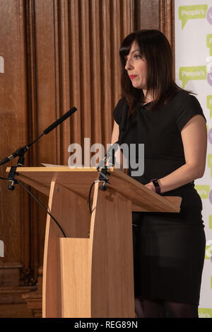 London, United Kingdom. 22 January 2019. People Vote 'Shining a light on alternative Brexit plans' press conference held at the Royal Institute of Chartered Surveyors building in central London. Pictured: Bridget Phillipson. Credit: Peter Manning/Alamy Live News - Stock Image