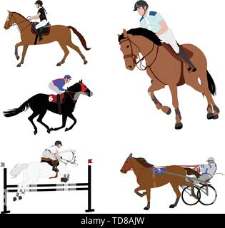 equestrian sports. dressage,jump show,gallop,harness racing - vector - Stock Image