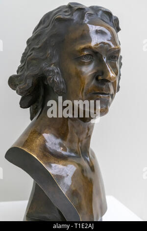 Contemporary bronze bust of famous painter Francisco de Goya  by Gaetano Merchi (1747-1825) - Stock Image
