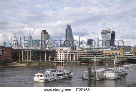 London skyline view from River Thames South Bank June 2014 - Stock Image