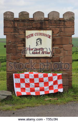 The New Cumnock sign that was decorated for the Scottish Junior Cup Final in 2014 - Stock Image