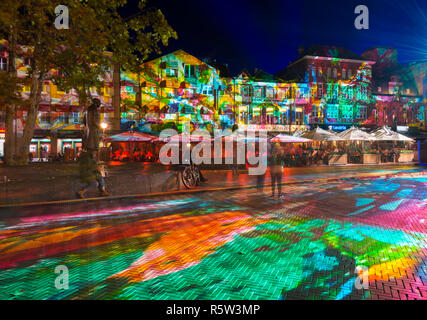 Eindhoven, The Netherlands.Light projection, artwork 'Immersive decelerator' (Georg Reisch of Pani) during light art festival GLOW Eindhoven. - Stock Image