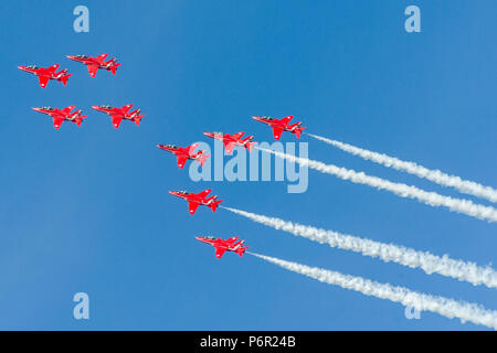 Cleethorpes, UK. 1st July 2018 : Royal Air Force the world famous Red Arrows entertained visitors above the skies of Cleethorpes, UK. the RAF aerobatics team. Bringing the annual Armed Forces weekend event to a spectacular close. The RAF's celebrate their 100th aniversary year. Clifford Norton Alamy Live News. - Stock Image