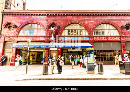 Russell Square London, Russell Square underground London, Russell Square station London, Russell Square station building, Russell Square UK England - Stock Image