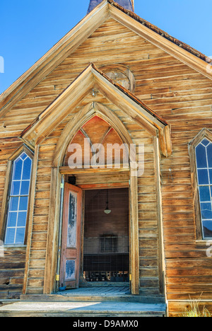 The Methodist Church in the abandoned gold mining town of Bodie in eastern California. - Stock Image