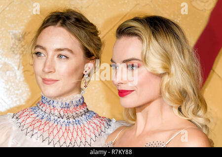 London, UK. 10th Dec 2018. Saoirse Ronan and Margot Robbie at Mary Queen Of Scots European Premiere on Monday 10 December 2018 held at Cineworld Leicester Square, London. Pictured: Saoirse Ronan, Margot Robbie. Credit: Julie Edwards/Alamy Live News - Stock Image