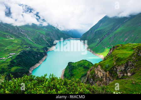 Alpine landscape with Wasserfallboden high mountain reservoir near Kaprun - Stock Image