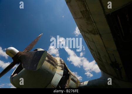 Derelict aircraft, C-47 Skytrain of ex JRV in Otocac, Croatia, propeller and piston engine - Stock Image