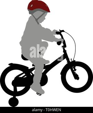 little boy riding bicycle  high quality silhouette - vector - Stock Image