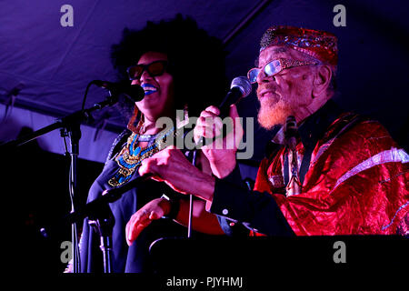 Philadelphia, USA. 08th Sep, 2018. Vocalist Tara Middleton and saxophonist Marshall Allen perform on stage with cosmic and experimental in Philadelphia, PA, on September 8, 2018. Credit: PhotograPHL/Alamy Live News - Stock Image