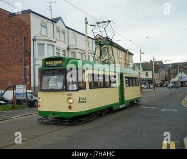 Blackpool Single Decker Tramcar No.680 in Hopton Street -1 - Stock Image