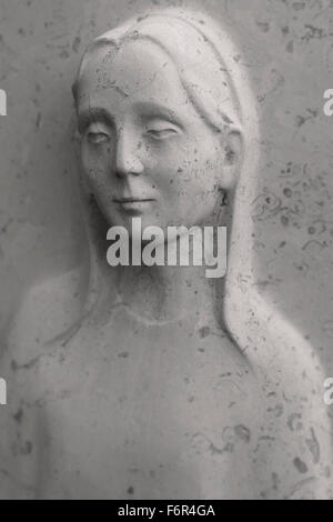 The Lost Girl - Headstone Relief Sculpture - Stock Image
