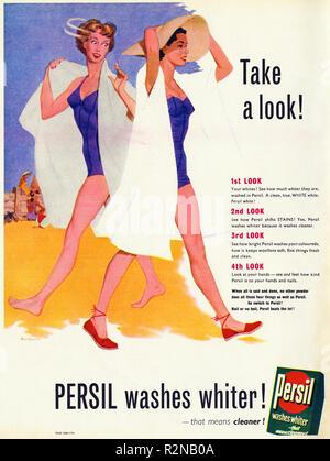 Original 1950s vintage old print advertisement from English magazine advertising Persil clothes washing powder circa 1954 - Stock Image
