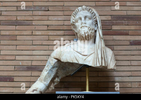 Merida, Spain - September 4th, 2018: Aeneas sculptorical group. Fragment of Anchises. National Museum of Roman Art in Merida, Spain - Stock Image