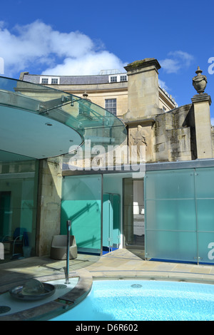 The Cross Bath is a private space at Bath's public spa, the Thermae Bath Spa. Visitors can float in a private, - Stock Image