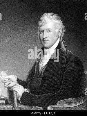 David Humphreys (1752-1818) on engraving from 1835.  American Revolutionary War colonel. - Stock Image