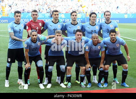 Rostov On Don, Russia. 20th June, 2018. ROSTOV-ON-DON, RUSSIA - JUNE 20, 2018: Uruguay's Martin Caceres, Guillermo Varela, Cristian Rodriguez, Carlos Sanchez, Luis Suarez (L-R front), Jose Maria Gimenez, goalkeeper Fernando Muslera, Matias Vecino, Rodrigo Bentancur, Edinson Cavani and Diego Godin (L-R background) pose for a group photograph ahead of the 2018 FIFA World Cup First Stage Group A football match against Uruguay at Rostov Arena Stadium. Valery Matytsin/TASS Credit: ITAR-TASS News Agency/Alamy Live News - Stock Image