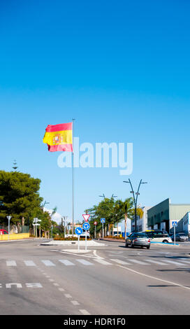 Spanish flag in the town of Coín, Andalusia, Spain - Stock Image
