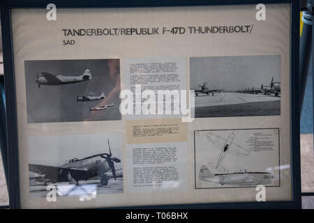 Description board about Republic F-47D-40-RE Thunderbolt airplane on display in Serbian Aeronautical museum in Belgrade - Stock Image