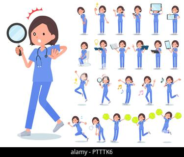 A set of Surgical Doctor women with digital equipment such as smartphones.There are actions that express emotions.It's vector art so it's easy to edit - Stock Image