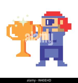 Videogame pixelated gangster character isolated - Stock Image