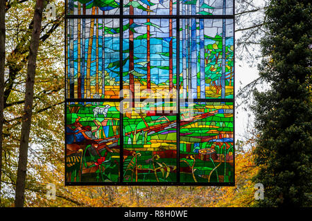Cathedral stained glass art installation at Beechenhurst in the Forest of Dean, Gloucestershire, england - Stock Image
