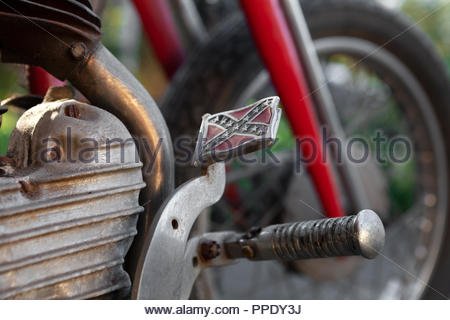 1942 Harley Davidson; with a Confederate Flag Pedal - Model  WLA 750 - Outside in Sunshine - Stock Image
