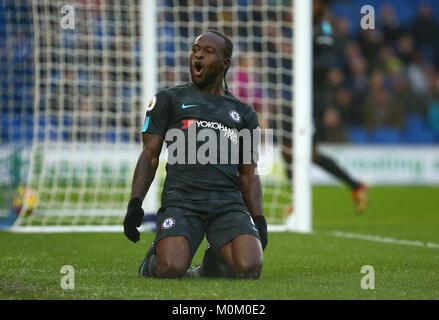 Victor Moses of Chelsea celebrates scoring during the Premier League match between Brighton and Hove Albion and - Stock Image