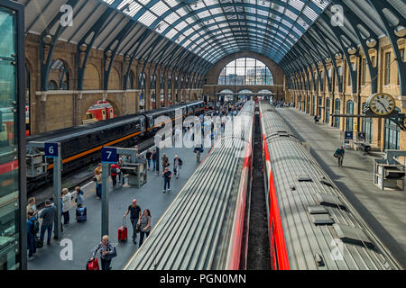 Kings Cross Station,Platform,Five,Six,Seven,Eight. Busy with Passengers - Stock Image