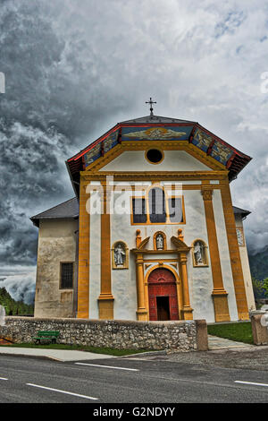 The beautiful church of Saint Nicolas de Veroce in the french alps - Stock Image