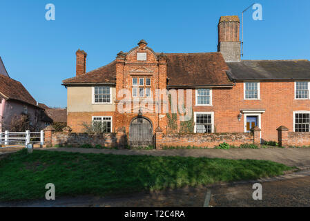 River House Kersey, the historic (1490) River House building with its early Tudor brick porch sited in the centre of Kersey village, Suffolk, England. - Stock Image