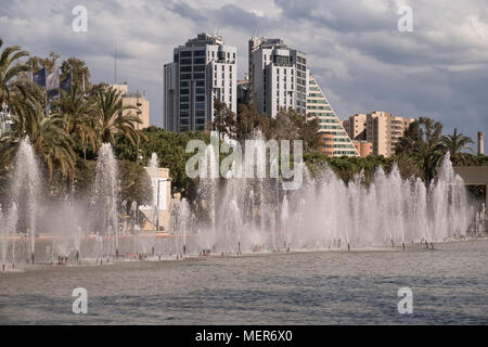 Decorative water fountain in Jardines del Turia, a former riverbed converted to a public garden running through the centre of Valencia, Spain. - Stock Image