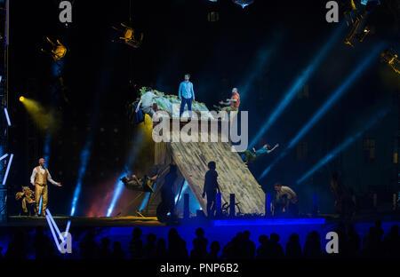 FLIP Fabrique Circus Show 2018, Agora theatre, Old Port, Québec, Canada. - Stock Image