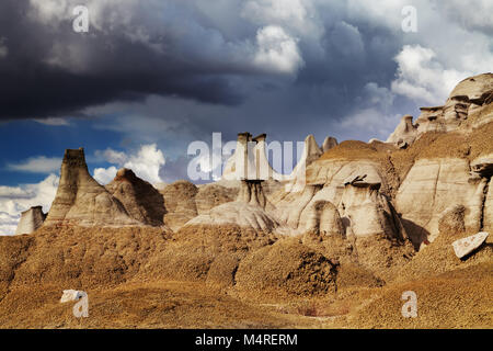 Rock formations in Bisti Badlands, New Mexico, USA - Stock Image