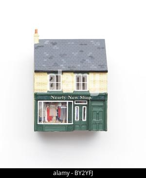 Model of brick house and shop - Stock Image