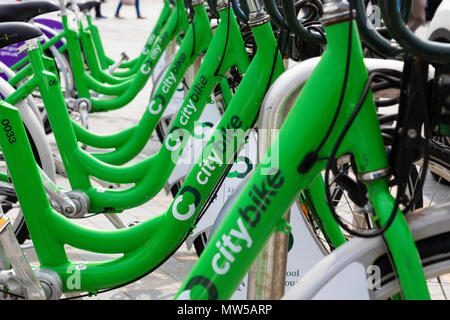 Close up of six bikes involved in the Liverpool city bike scheme in Liverpool May 2018 - Stock Image