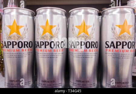 Imported Sapporo Premium Beer on a supermaket shelt in the UK - Stock Image