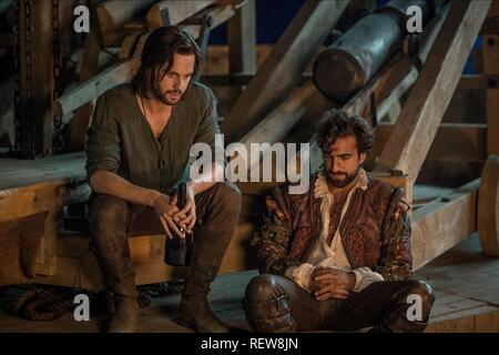 Tom Riley & Gregg Chillin Television: Da Vinci'S Demons : Season 3 (TV-Serie)  Character(s): Leonardo Da Vinci, Zoroaster   Usa 2013-2015, / 3. Staffel, Season 3 24 October 2015  SAP60137 Allstar Picture Library/BBC WORLDWIDE  **Warning**  This Photograph is for editorial use only and is the copyright of BBC WORLDWIDE  and/or the Photographer assigned by the TV or Production Company & can only be reproduced by publications in conjunction with the promotion of the above TV Programme. A Mandatory Credit To BBC WORLDWIDE is required. The Photographer should also be credited when known. No commerc - Stock Image